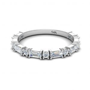 14kt White Gold Baguette & Round Diamond Band