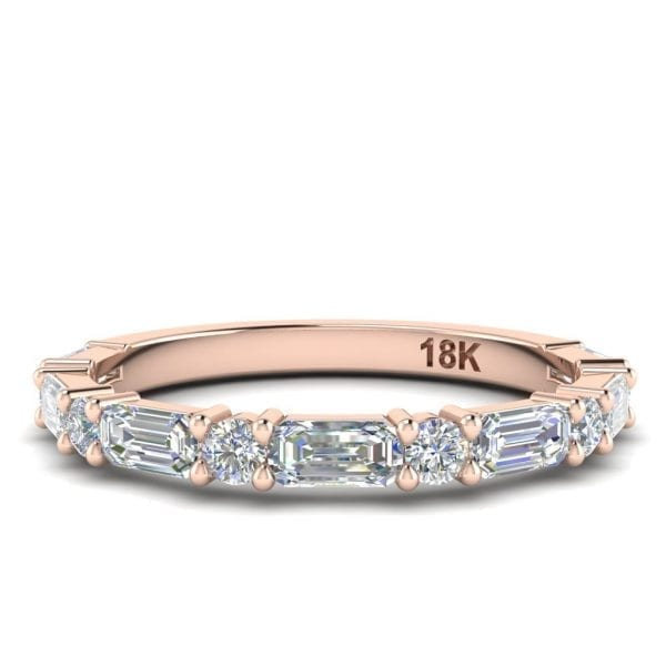 18kt Rose Gold Baguette & Round Diamond Band