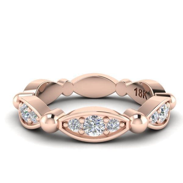 Rose Gold Baguette & Round Diamond Eternity Band