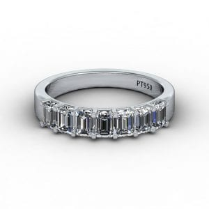 Platinum Emerald Cut Diamond Band