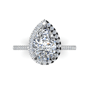18kt White Gold Pear Halo Ring