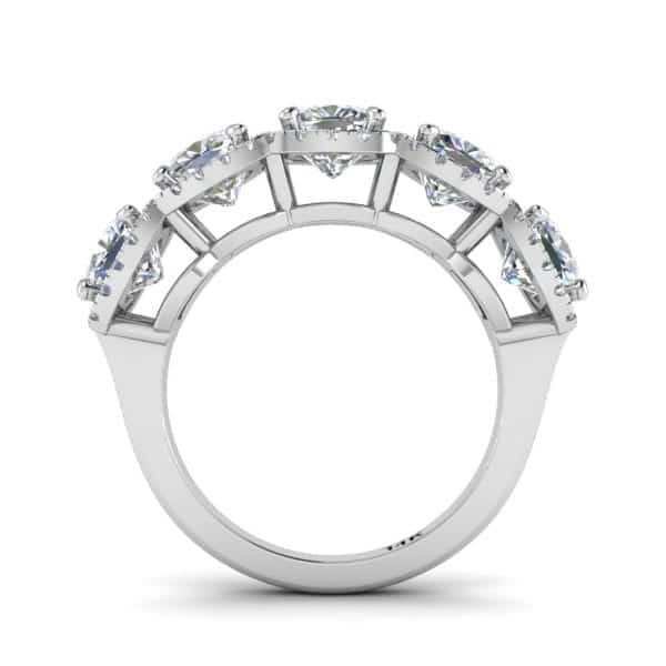 Forever One Moissanite & Diamond Halo Diamond Band