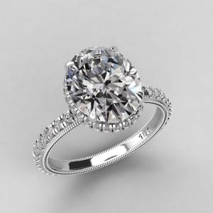 Oval hidden halo ring