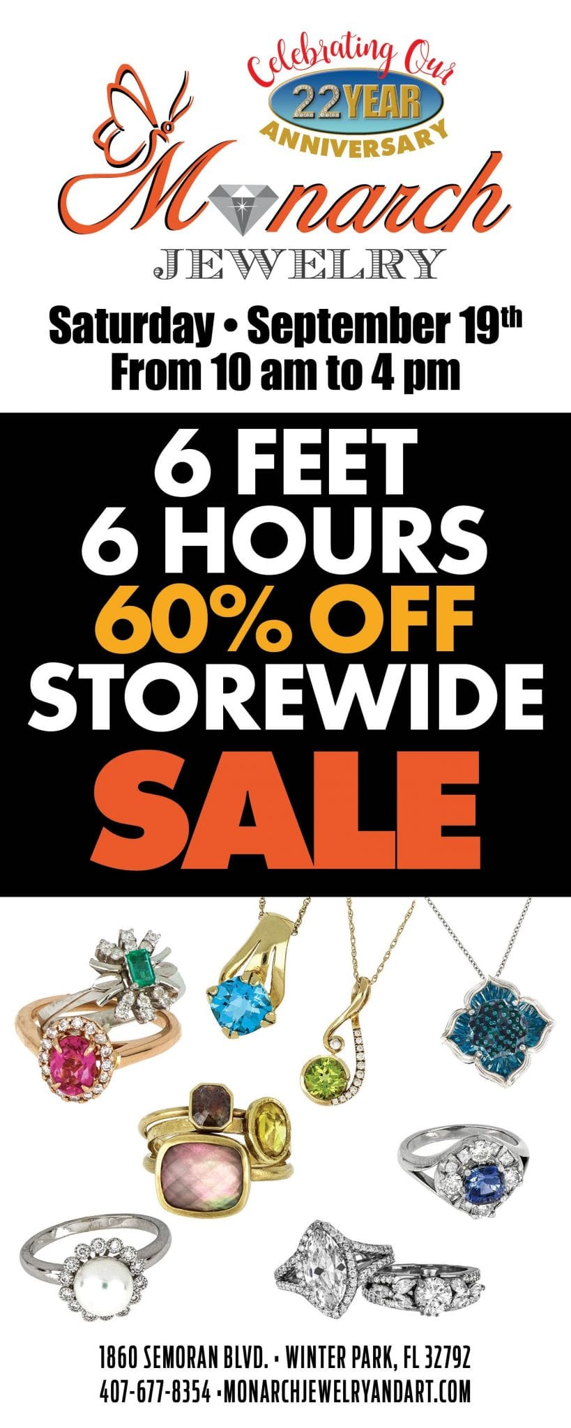 , Storewide Sale This Saturday, September 19th, Monarch Jewelry