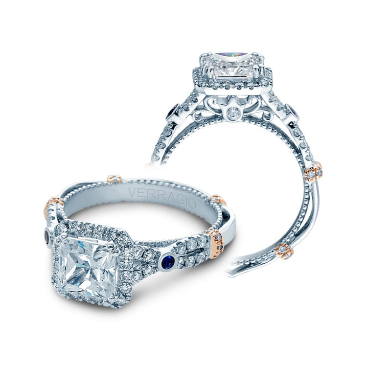 Verragio Halo Twist Engagement Ring With Sapphire Accents Mervis Diamond Importers