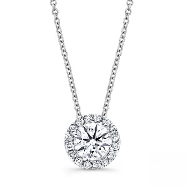 Natalie K Center of My Universe Forevermark Round Halo Diamond Necklace