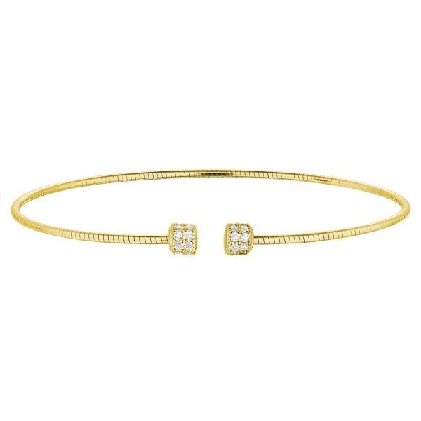Kelly Waters Gold Finish Sterling Silver Round Omega Cable Cuff